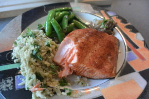 Salmon with Caulifower rice and Peas